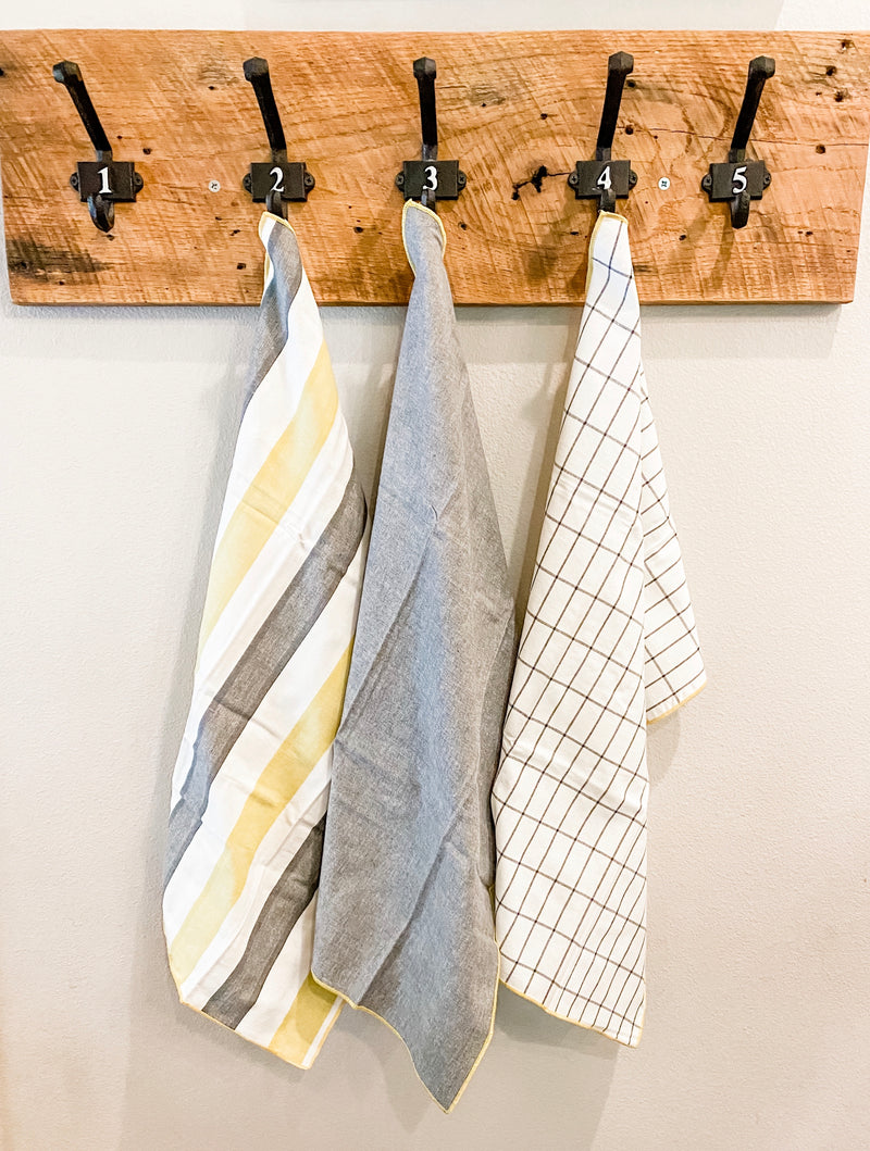 Yellow and Grey Towel Set