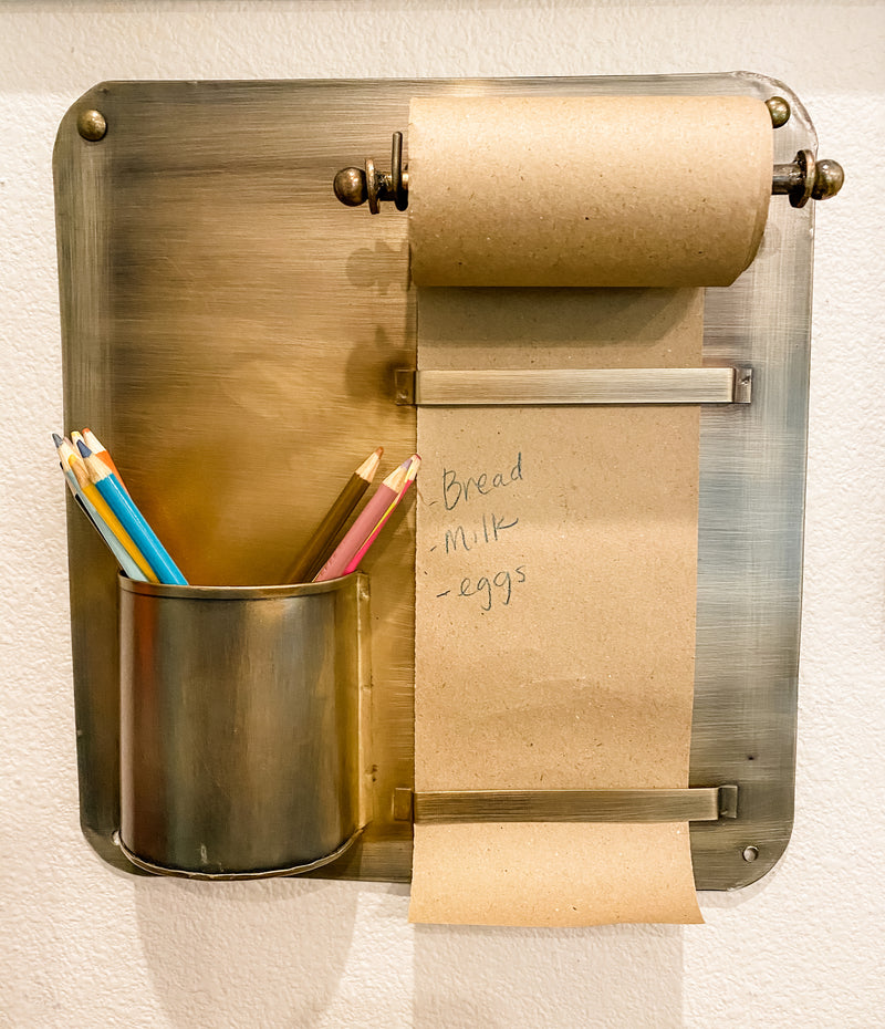 Brass Wall Rack with note Roll