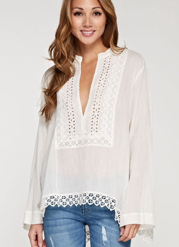 Eyelet and cotton Gauze tunic