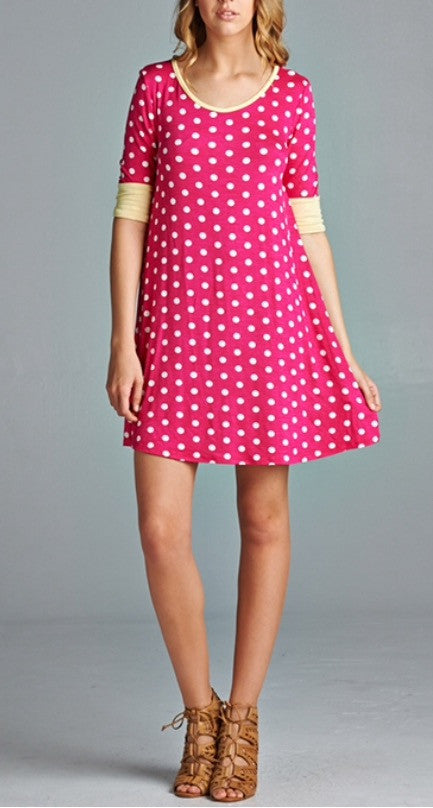 Fuchia Polka Dot Dress
