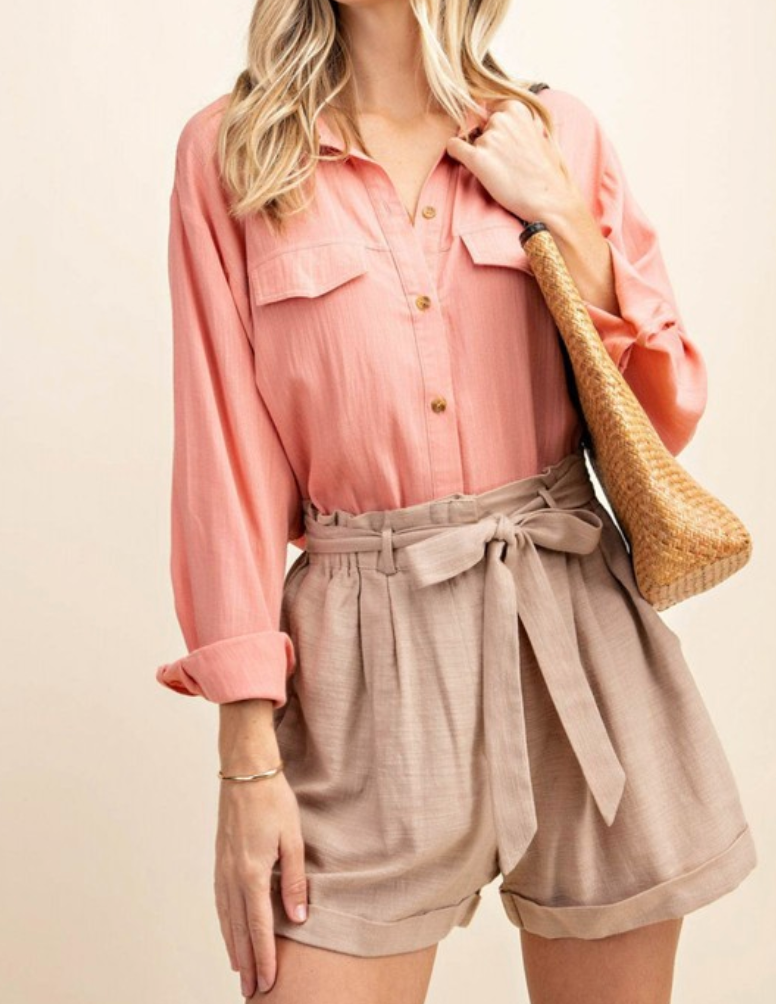 Rosy Buttons Top