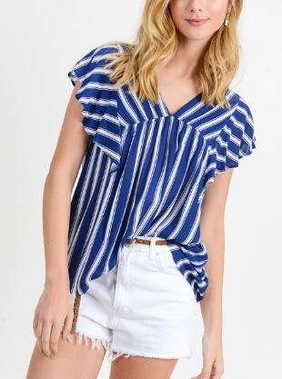 Denim Stripe Ruffle Sleeve Top