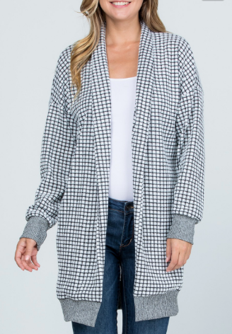 Checked Cardi