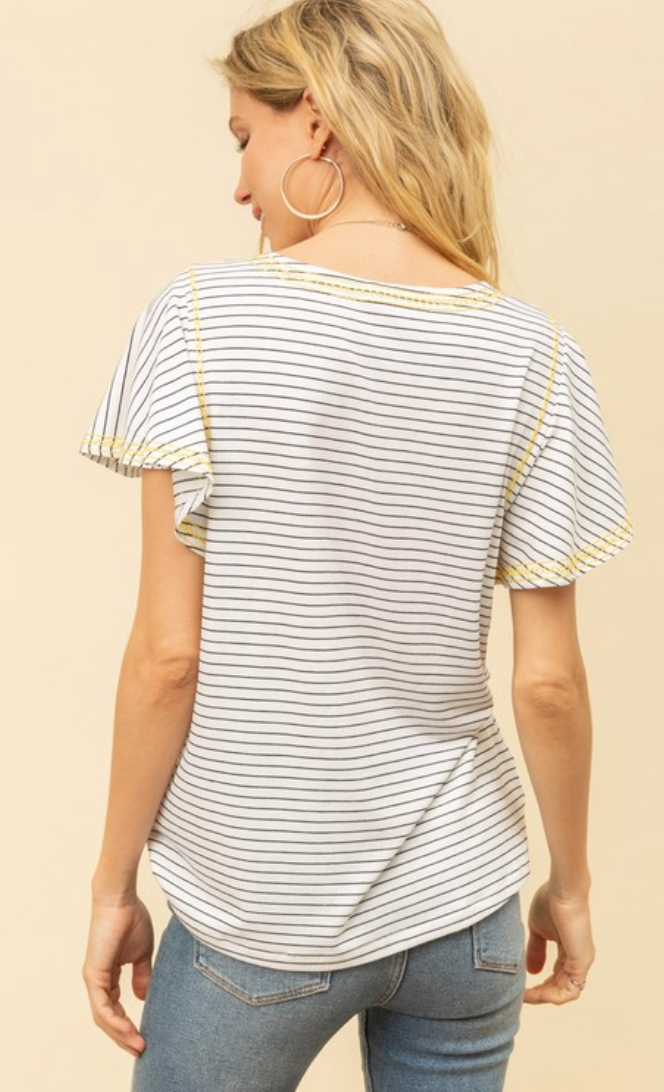 Embroidered Stripes Top