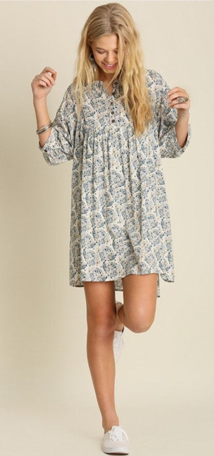 Button up Print Peasant Dress