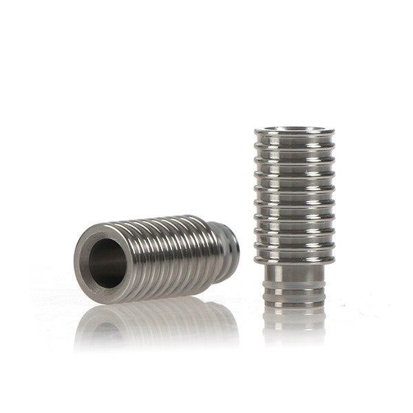 Ribbed Design Wide Bore Stainless Steel Drip Tip (SS016)