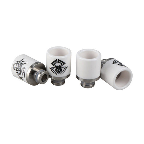 Stubby Ceramic & Stainless Steel Scorpion & Spider Wide Bore Drip Tips (CER004)