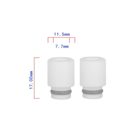 White PTFE Stumpy Wide Bore Drip Tip (TEF003)