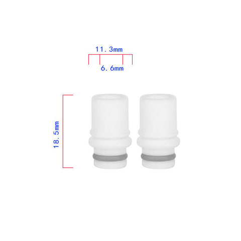 White Twin Ring Design PTFE Wide Bore Drip Tip (TEF002)