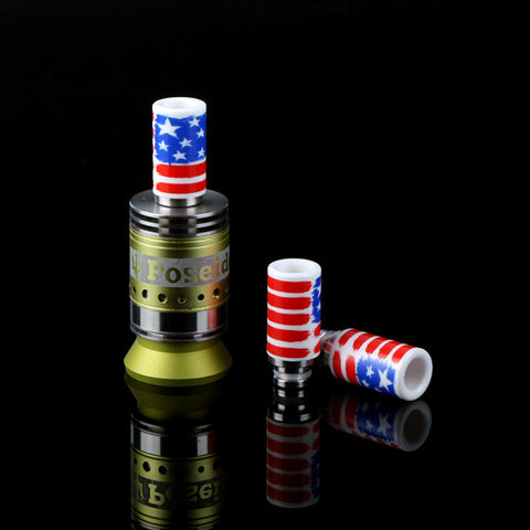 Ceramic & Stainless Steel American Flag Wide Bore Drip Tip (CER003)