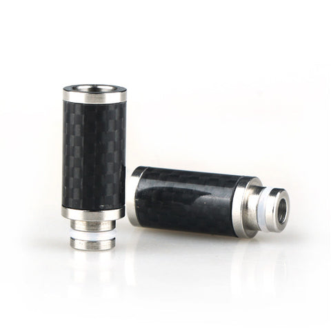 New! Long Stainless Steel & Carbon Fibre Wide Bore Drip Tip (CF007)