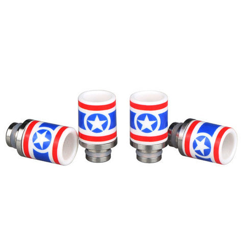 Ceramic & Stainless Steel Captain America Wide Bore Drip Tip (CER012)