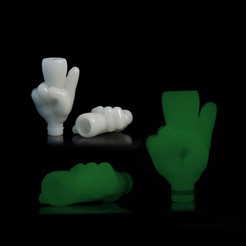 Glow In The Dark Middle Finger, Peace Sign Or Thumb Drip Tips (GLOW004)
