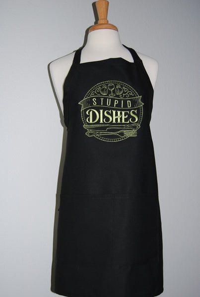 embroidered stupid dishes apron