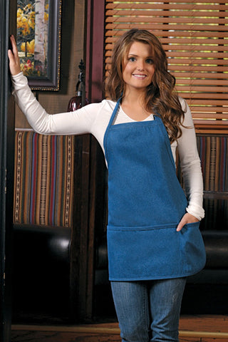 Rounded Denim Three Pocket Bib Apron