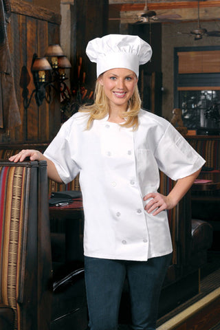 Short Sleeve Chef Coat Chest Pocket & Sleeve Pocket