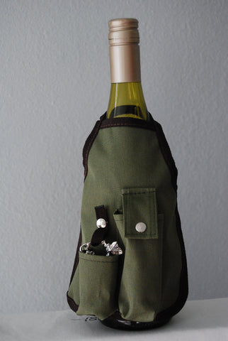 Wine Bottle Aprons - Olive