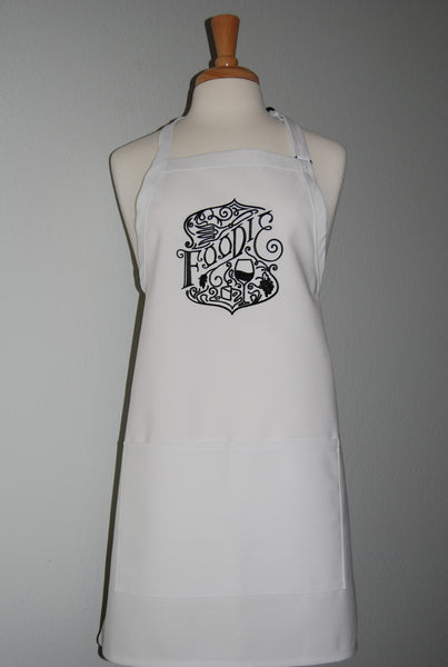 embroidered foodie apron