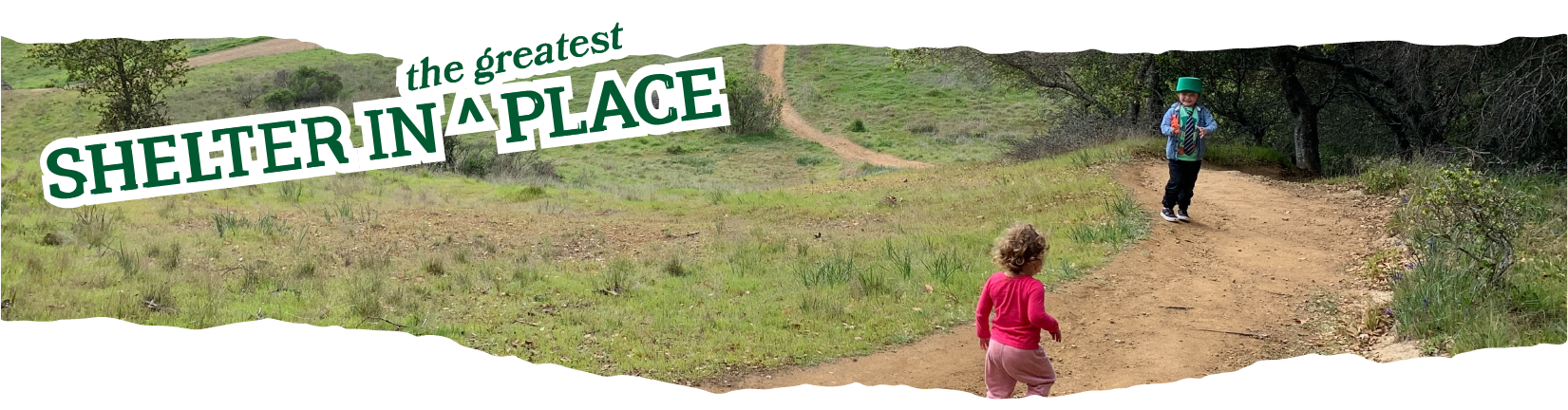 Title: Shelter in the Greatest Place overlaid on a photo of two children running happily down a trail in Marin.