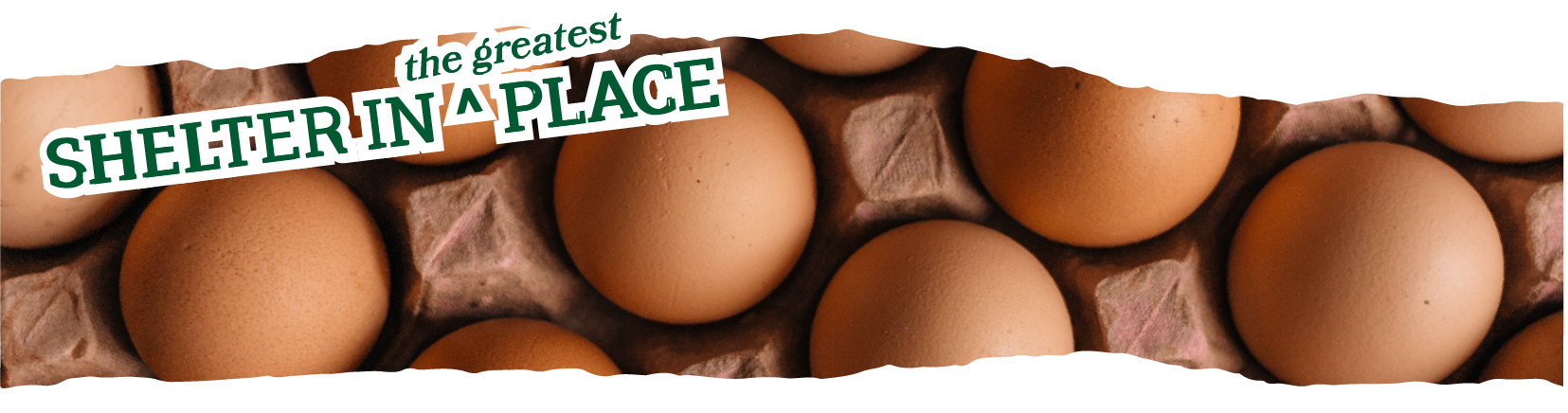 Title text: Shelter in the greatest place laid over a photo of eggs in a carton, one of the ingredients Rachel will offer substitutions and alternatives for in baking.
