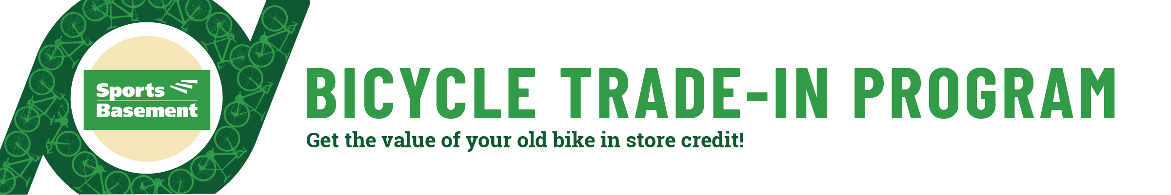 Logo of Sport's Basements Bicycle Trade-In Program. Get the value of your old bike in store credit!