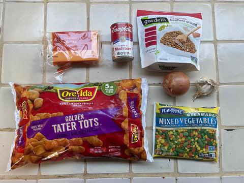 Tater tot ingredients (listed below).