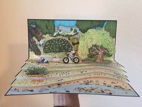 DIY pop-up illustrated book of a person bicycling through trees.