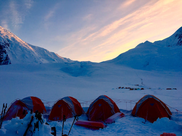 Tents camped out on a glacier