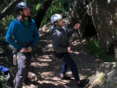 Photo of two guides leading a climbing trip for Sports Basement Outdoors.