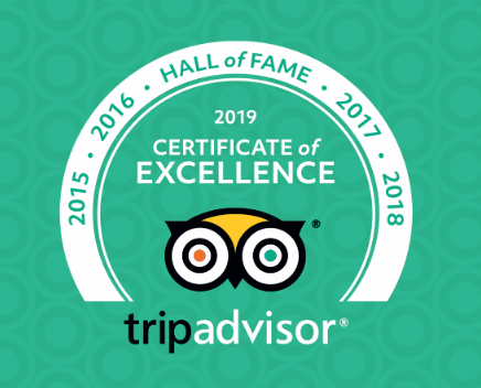 Trip Advisor 2019 Certificate of Excellence logo.