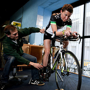 Photo of a bike fit in progress with one of our very own Staffletes, Ian Ballentine.