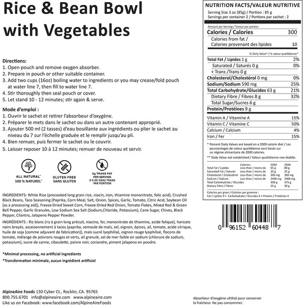 Rice & Beans Bowl with Vegetables (2 Servings) alternate view