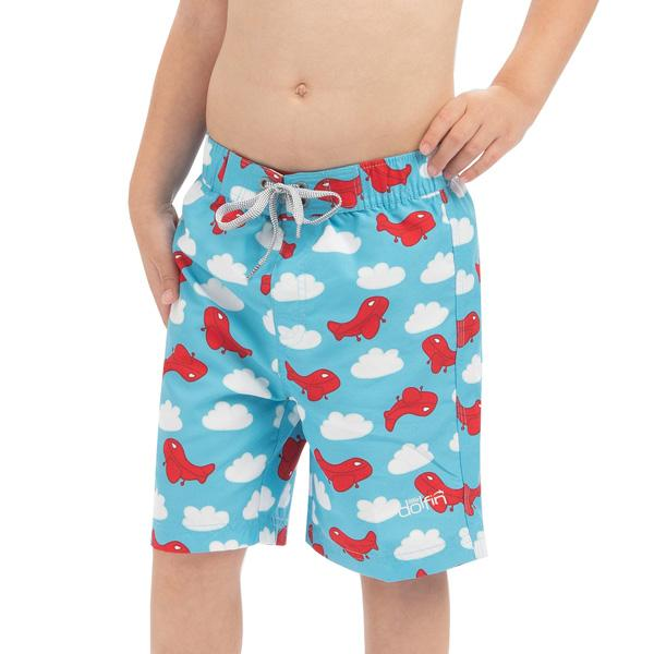 Boys' Little Dolfin Printed Swim Trunks
