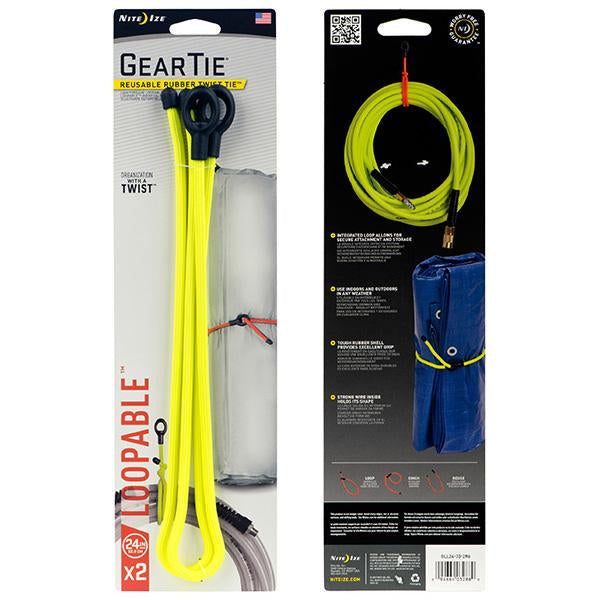 24in. Gear Tie Loopable - Neon Yellow