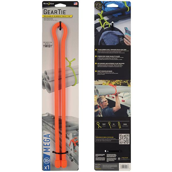 32in. Gear Tie Mega - Bright Orange