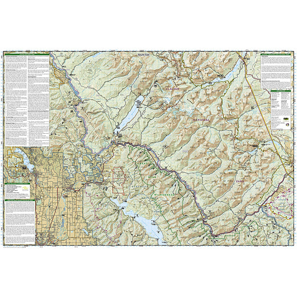Glacier and Waterton Lakes National Parks Map alternate view