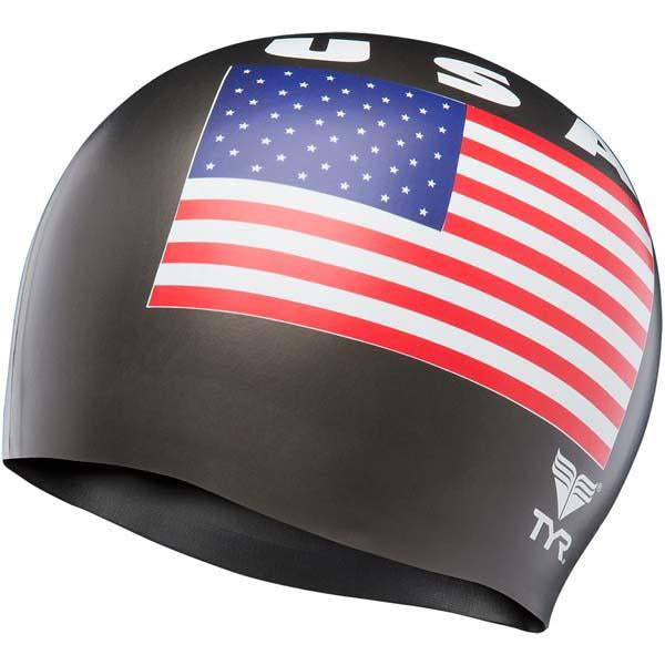 USA Latex Swim Cap - Black