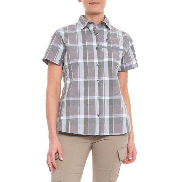 Shimano Women's Transit Short Sleeve Check Button Up, Shark - S