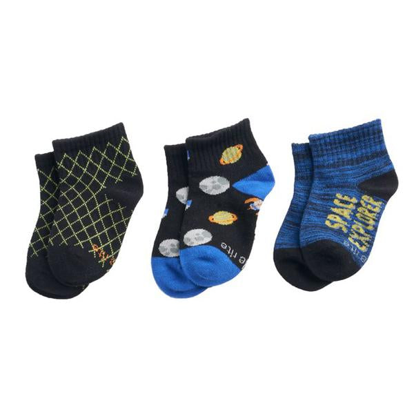 Youth Garrett Space Cadet Quarter-Cut Socks (3 Pack)
