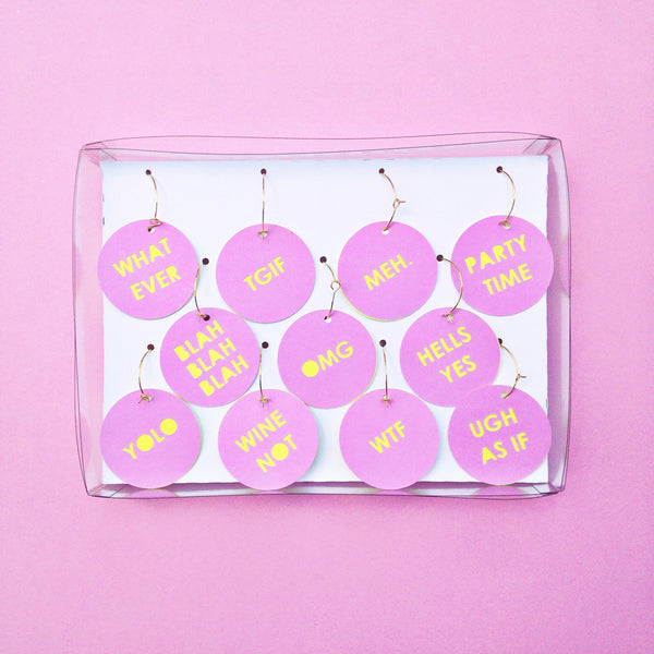 Party Talk Wine Tags // Purple & Bright Yellow