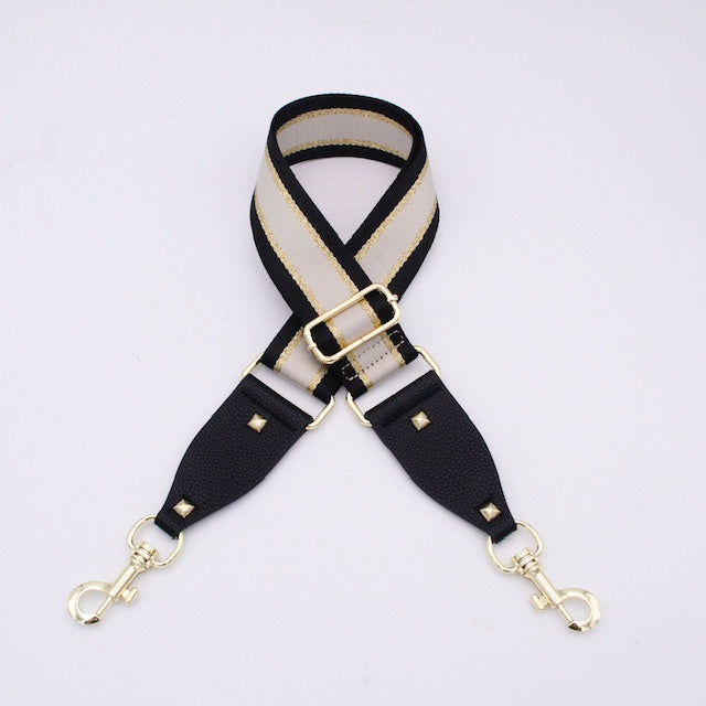 Hi Ho Silver Bag Strap Black Gold Cream Stripe