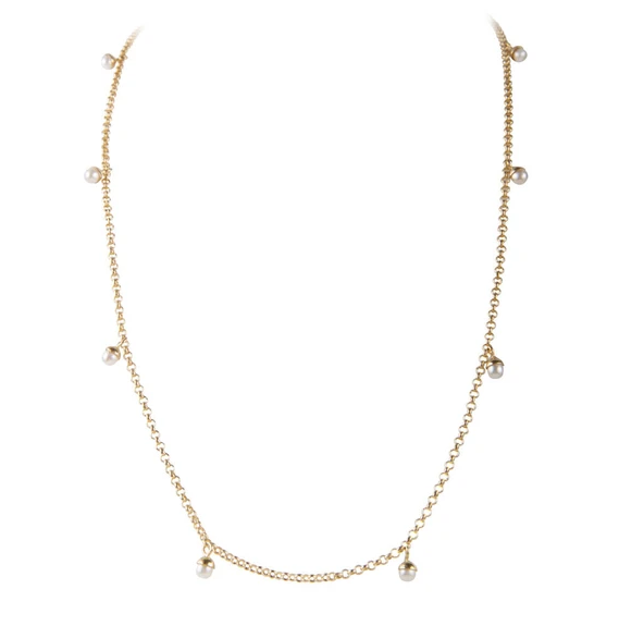 Fairley Pearl Pom Necklace Gold