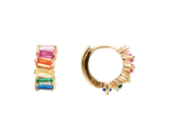 Fairley Rainbow Baguette Cluster Huggies Gold