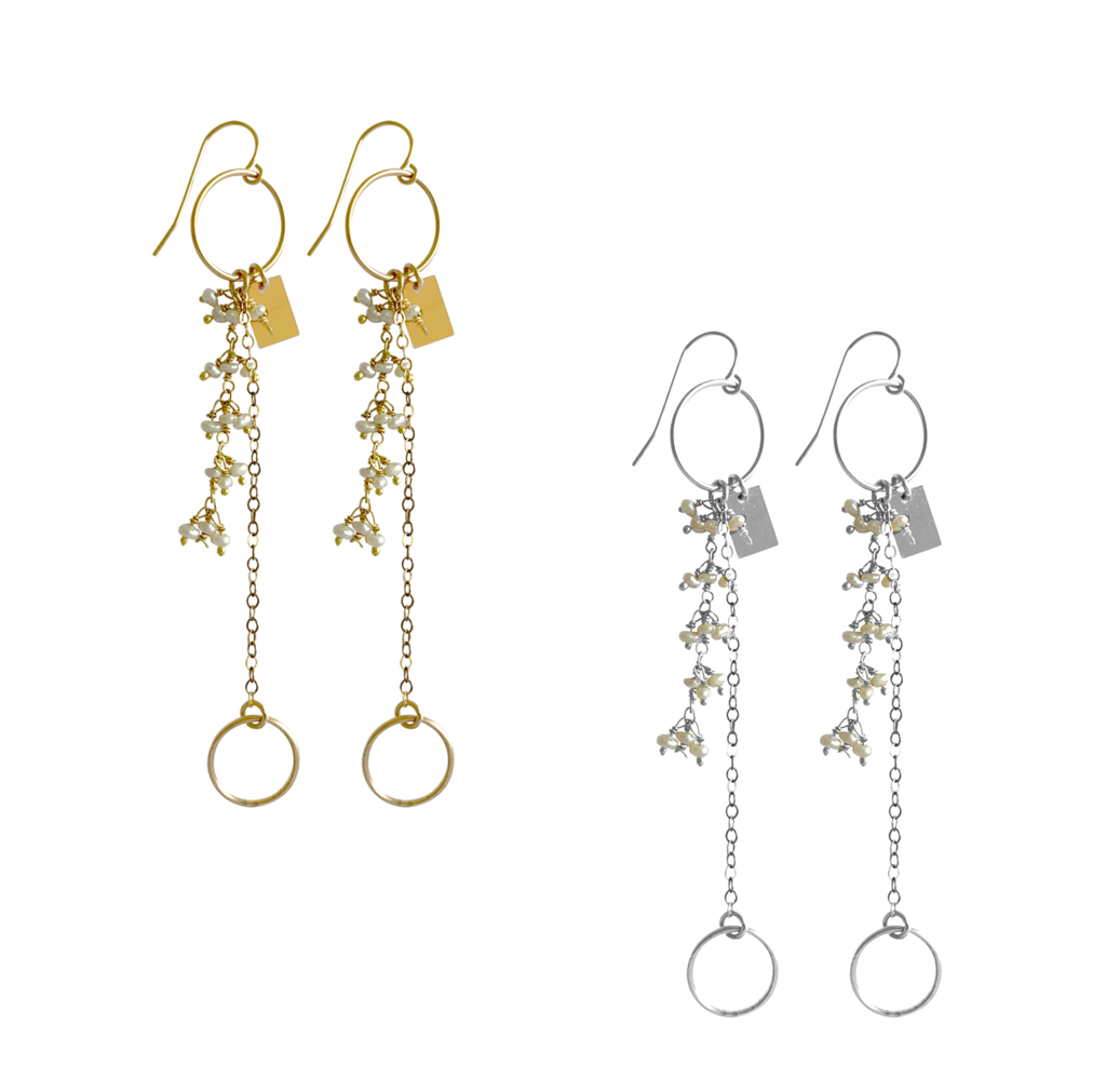 Misuzi Baby Pearl and Charm Earrings Gold