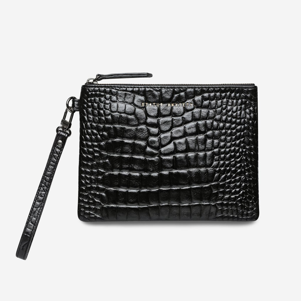 Status Anxiety Fixation Clutch Black Croc