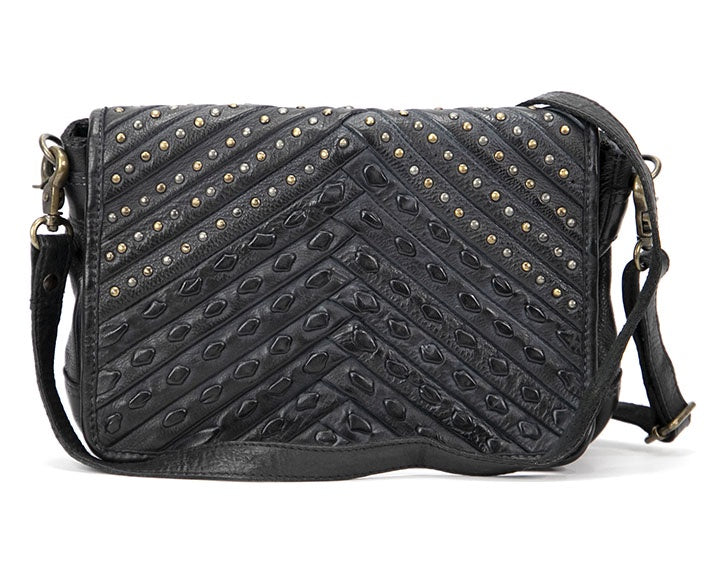 Mahson & Co Ribbons & Studs Clutch Bag Black