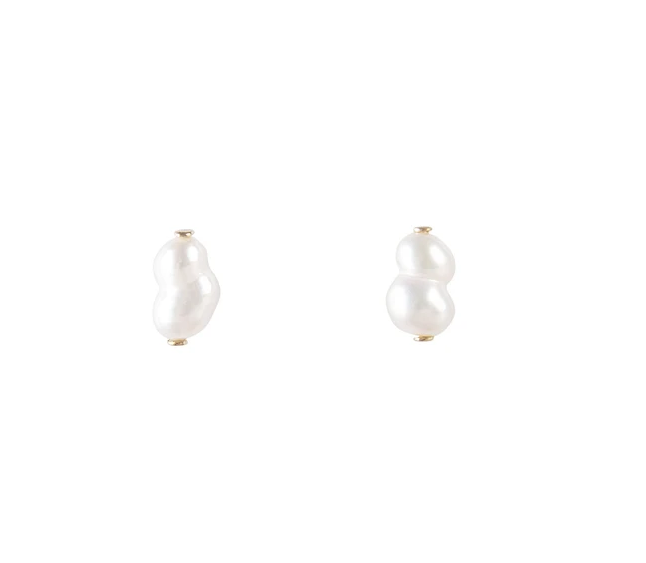 Fairley Pearl Puff Studs Gold