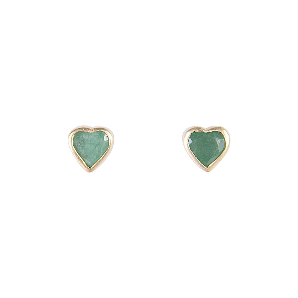Fairley Emerald Heart Studs