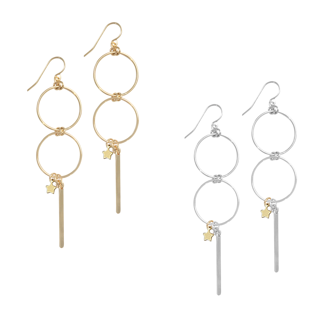Misuzi Double Ring w/ Star and Bar Earring Gold
