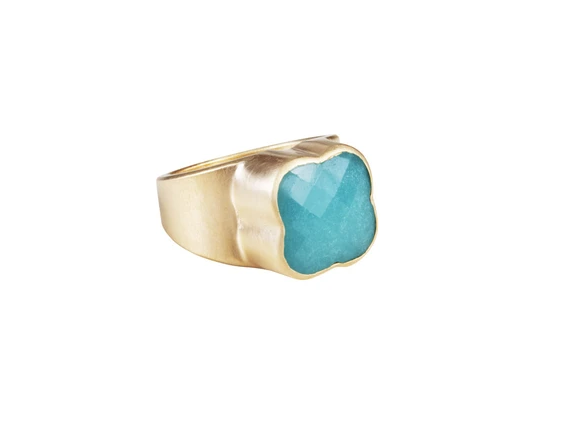 Fairley Amazonite Clover Ring Gold